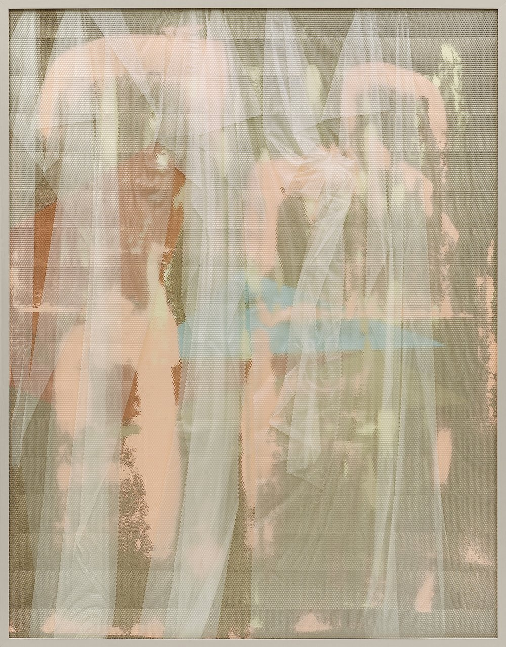 Eidolon / Part VI (2013) Oil, acrylic and latex on canvas beneath textured Plexiglas. 180 x 140 cm (71 x 55 in.)