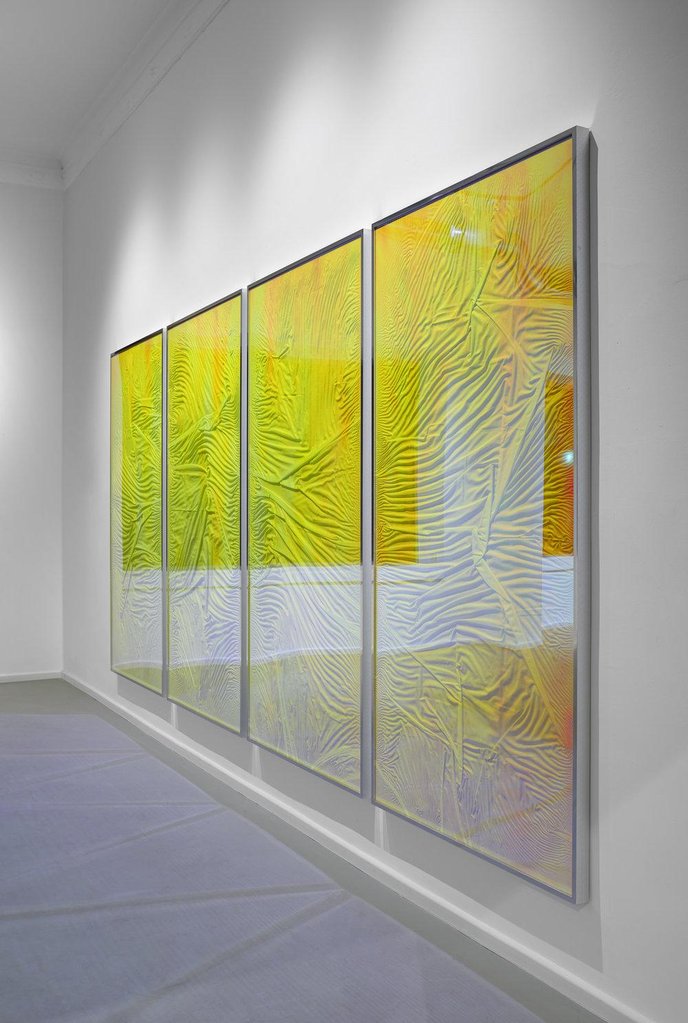 L'apparition / Part IV, V, VI, VII (Quadriptych),  2014 - Side view Linen on wood beneath Radiant Plexiglas, aluminium frame structure 400cm x 200cm (157 x 79 in)