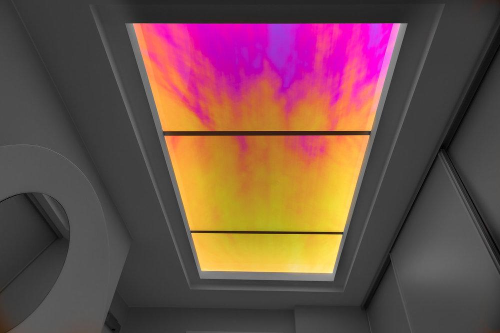 Novae - Installation View (2015) Radiant Plexiglas, watercolour on iridescent foil with aluminium frame structure. 250 x 160 cm (98 x 63 in.)