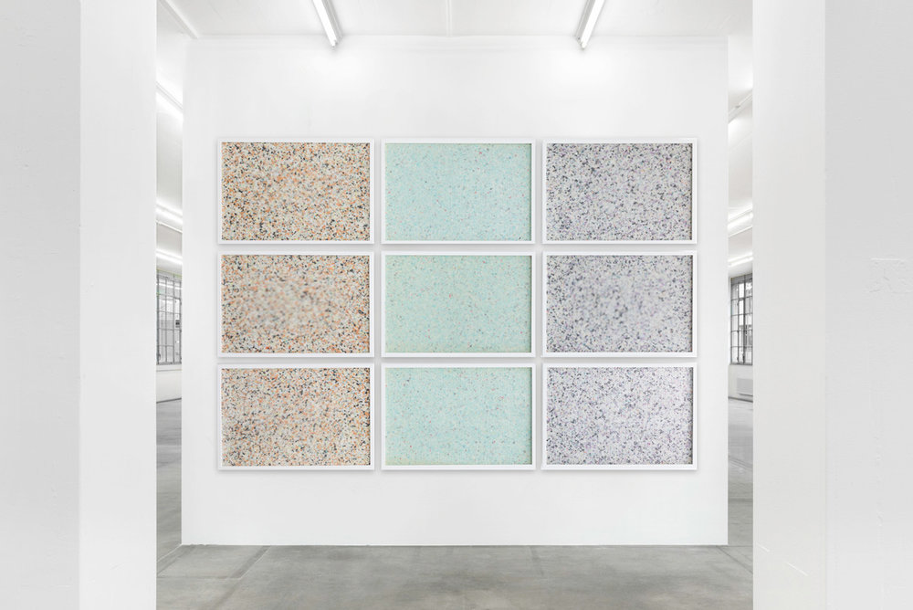 Molecular,  2015 - Installation view 9 panel grid, painted insulation foam beneath structured Plexiglas 190 x 130 cm (75 x 51 in)