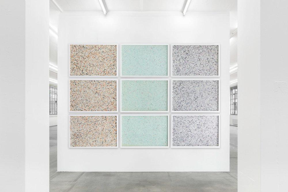 Molecular - Installation view (2015) 9 panel grid, painted insulation foam beneath structured Plexiglas. 190 x 130 cm (75 x 51 in.)