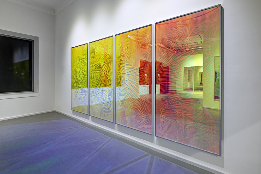 L'apparition / Part IV, V, VI, VII (Quadriptych),  2014 - Installation view Linen on wood beneath Radiant Plexiglas, aluminium frame structure 400cm x 200cm (157 x 79 in)