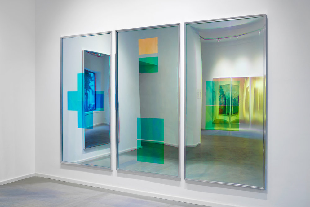 Spiegel im Spiegel / Part I, II, III, IV (Quadriptych),  2014 - Installation view Acrylic foil on mirror beneath Radiant Plexiglas, aluminium frame structure 400 x 200 cm (157 x 79 in)