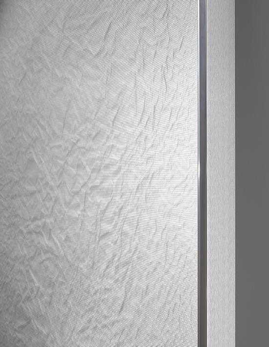 Tabula Rasa / Part I, 2016 - Side view Mulberry Hanji paper on wood beneath structured Plexiglas, aluminium frame 152 x 72 cm (60 x 28 in)