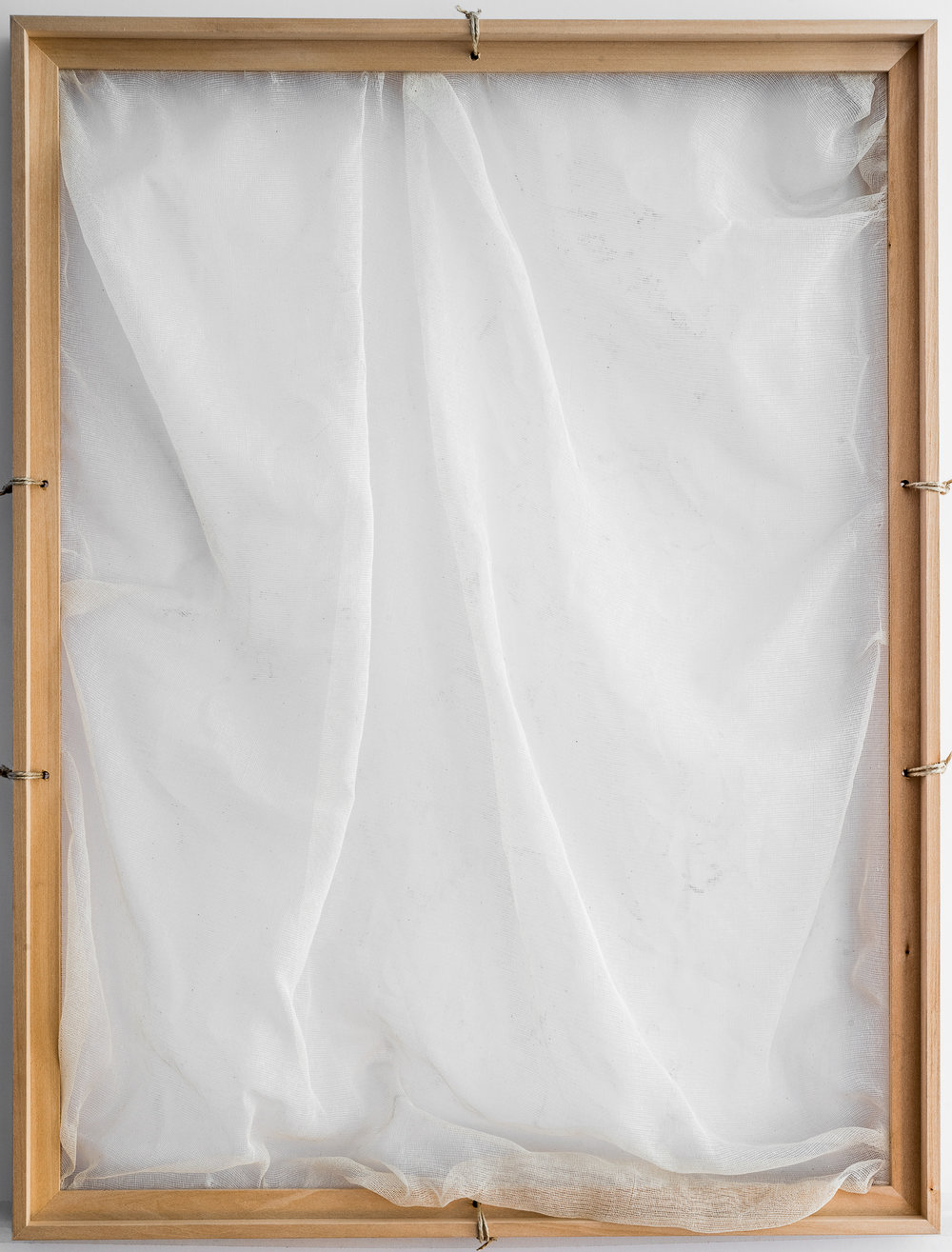 Moment Between Thoughts / Part VI   (2016) Gauze, wooden frame structure. 84 x 64 cm (33 x 25 in.)