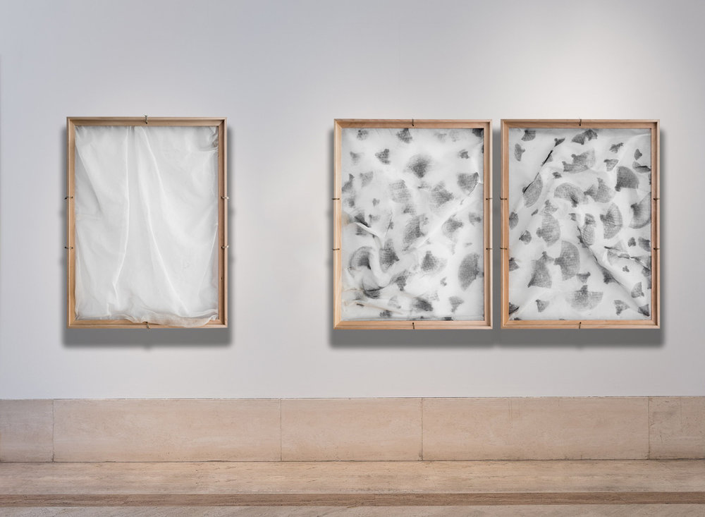 Moment Between Thoughts / Part V, VI, VII,  2016 - Installation view Chalk on gauze, wooden frame structure 84 x 64 cm (33 x 25 in) each