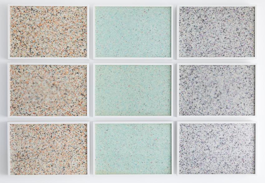 Molecular (2016) 9 panel grid, painted insulation foam beneath structured Plexiglas. 190 x 130 cm (75 x 51 in.)