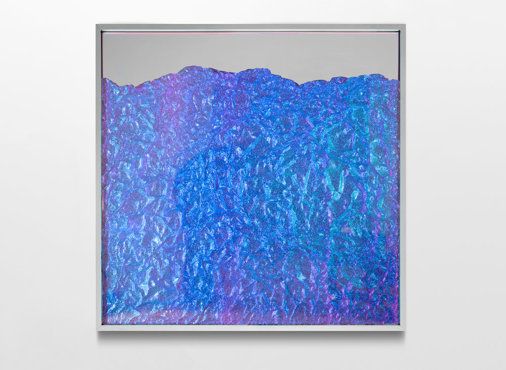 Strata Obscura / Part V,  2017 Industrial aluminium on mirror beneath iridescent Plexiglas, aluminium frame 90 x 90 cm (35 x 35 in)