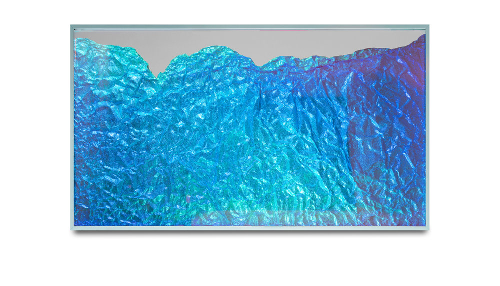 Strata Obscura Panorama / Part I,  2017 Industrial aluminium on mirror beneath iridescent Plexiglas, aluminium frame 155 x 100 cm (61 x 39 in)