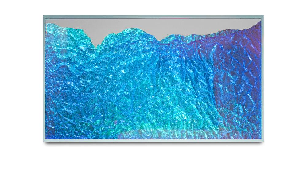 Strata Obscura Panorama / Part I,  2017 Industrial aluminium on mirror beneath iridescent Plexiglas, aluminium frame 150 x 85 cm (59 x 33 in)