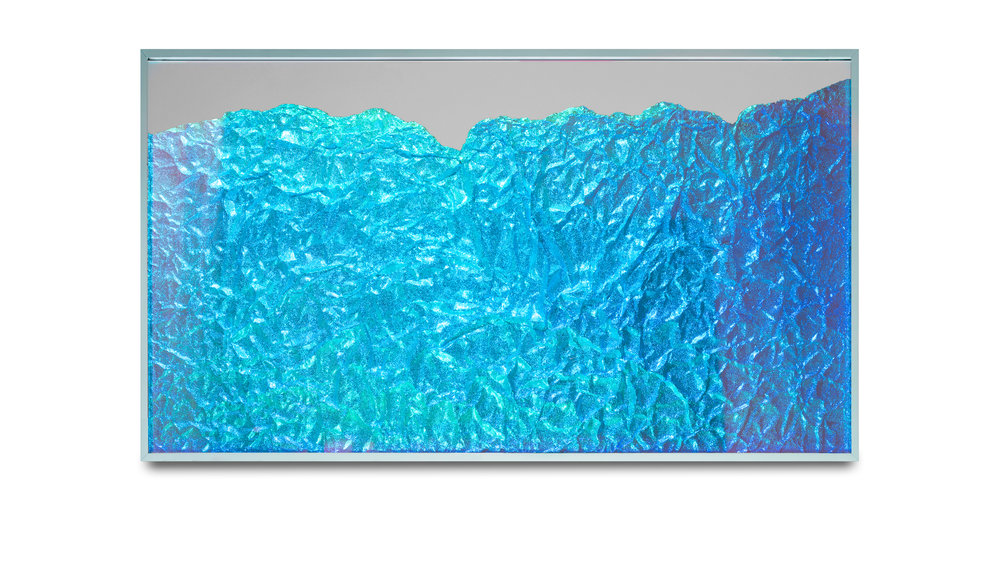 Strata Obscura Panorama / Part II, 2017 Industrial aluminium on mirror beneath iridescent Plexiglas, aluminium frame 155 x 100 cm (61 x 39 in)