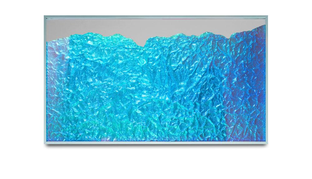 Strata Obscura Panorama / Part II,  2017 Industrial aluminium on mirror beneath iridescent Plexiglas, aluminium frame 150 x 85 cm (59 x 33 in)