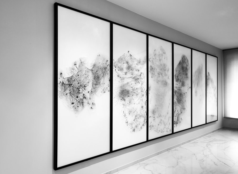 Substitute for Sorrow / Part I (Hexaptych),  2017 - Installation view Calligraphy ink on Xuan paper beneath marbled Plexiglas 200 x 558 cm (79 x 220 in)