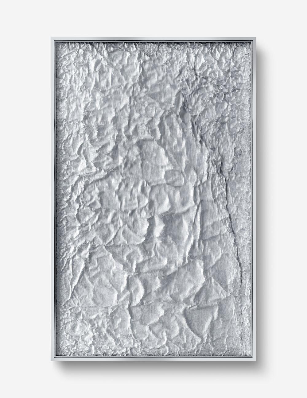 Tabula Rasa / Part VIII   ,   2018 Industrial aluminium beneath structured Plexiglas, aluminium frame 160 x 100 cm (63 x 39)
