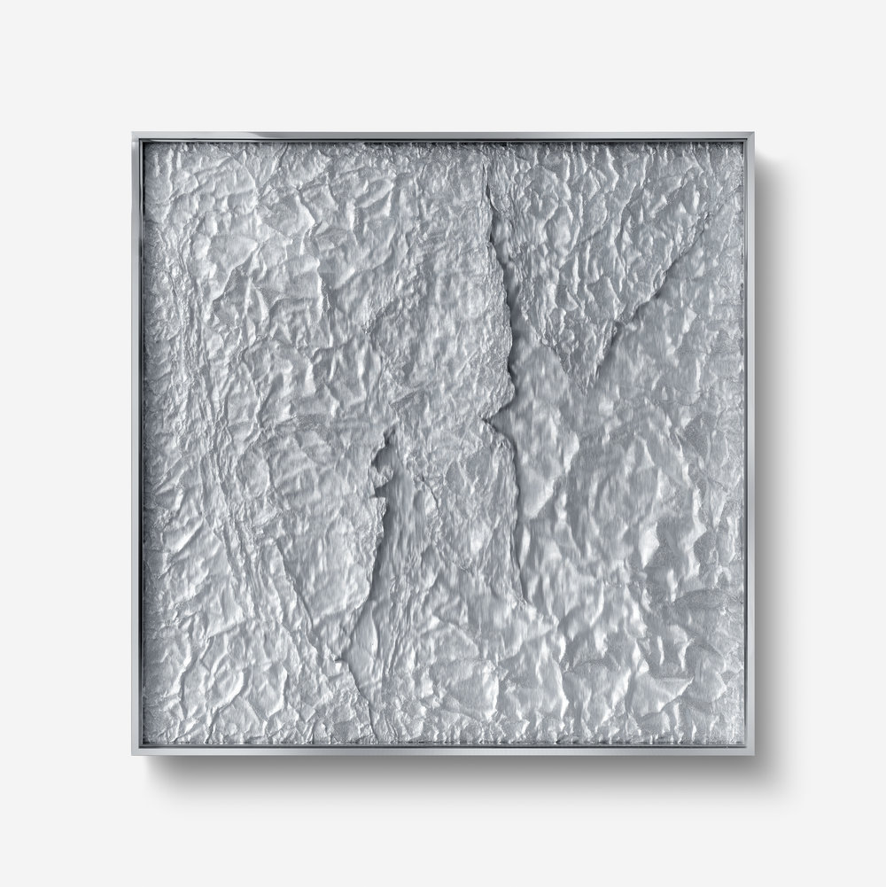 Tabula Rasa / Part IX ,  2018 Industrial aluminium beneath structured Plexiglas, aluminium frame 140 x 140 cm (55 x 55 in)