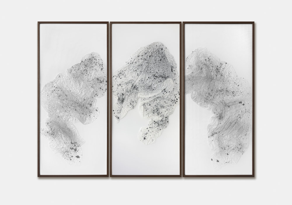 Substitute for Sorrow / Part II (Triptych),  2018 Calligraphy ink on Xuan paper beneath marbled Plexiglas 270 x 200 cm (106 x 79 in)