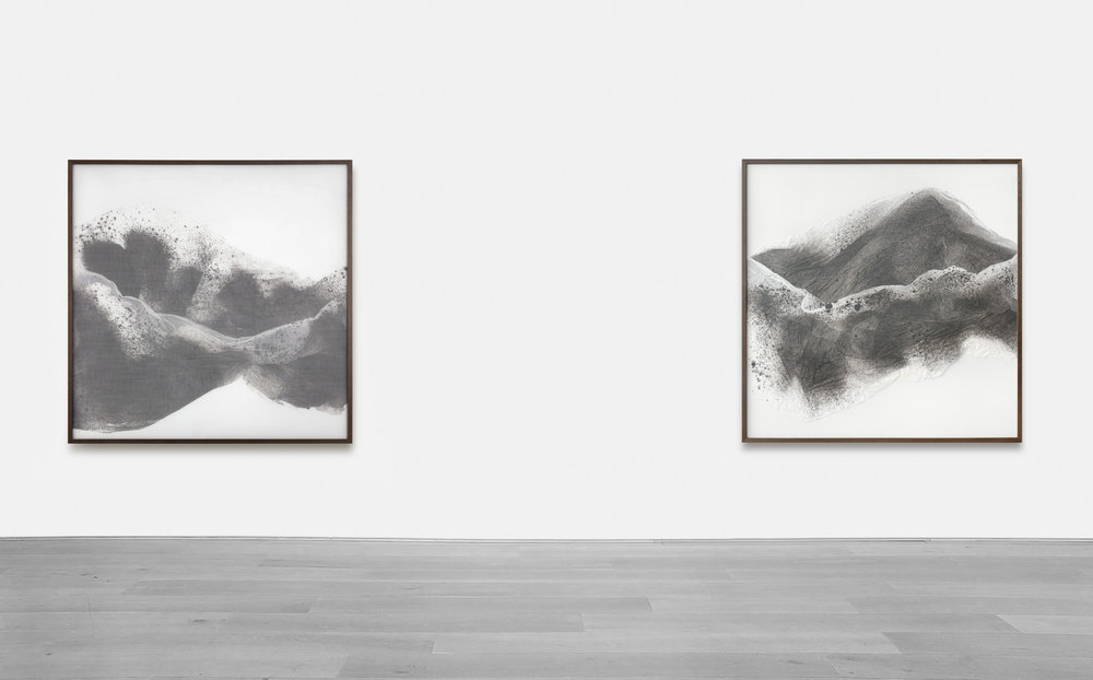 Substitute for Sorrow / Part III, IV,  2018 - Installation view Calligraphy ink on Xuan paper beneath marbled Plexiglas 150 x 150 cm (59 x 59 in)