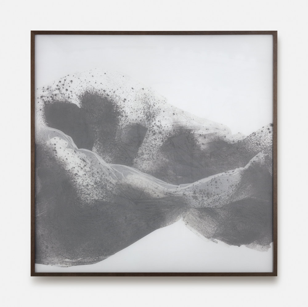 Substitute for Sorrow / Part III,  2018 Calligraphy ink on Xuan paper beneath marbled Plexiglas 150 x 150 cm (59 x 59 in)