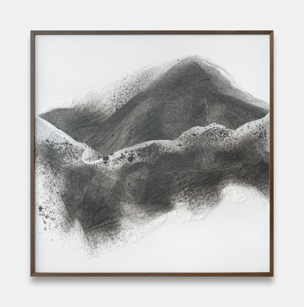 Substitute for Sorrow / Part IV,  2018 Calligraphy ink on Xuan paper beneath marbled Plexiglas 150 x 150 cm (59 x 59 in)