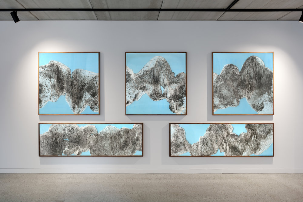 Remembrance of Realms Past / Part I, II, III, IV, V,  2018 - Installation view Calligraphy ink on Xuan paper, Poly Film beneath linear Plexiglas 120 x 120 cm (47 x 47 in) each, 206 x 63 cm (81 x 25 in) each