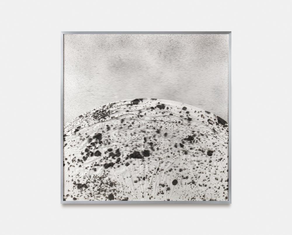Verklärte Nacht (Transfigured Night) / Part II,  2018 Ink on Xuan paper, spray paint on board beneath linear Plexiglas, aluminium frame 90 x 90 cm (35 x 35 in)