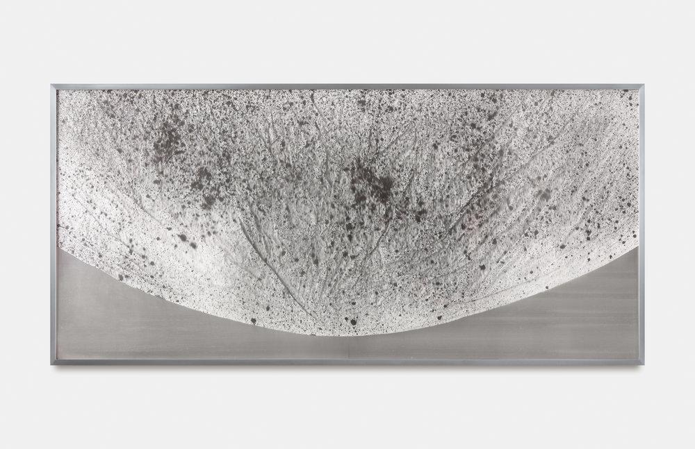 Verklärte Nacht (Transfigured Night) / Part III,  2018 Ink on Xuan paper on mirror beneath linear Plexiglas, aluminium frame 150 x 70 cm (59 x 28 in)