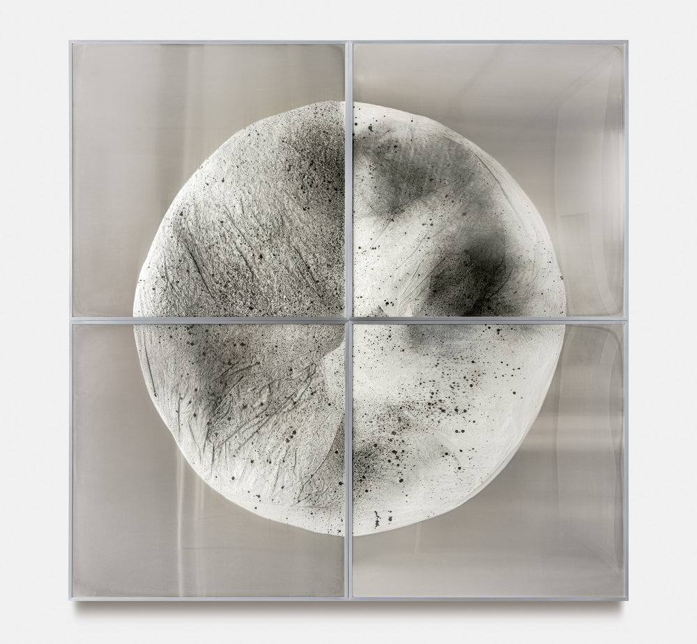 Verklärte Nacht / Part I (Quadriptych),  2018 Ink on Xuan paper on mirror beneath linear Plexiglas, aluminium frame 240 x 240 cm (95 x 95 in)