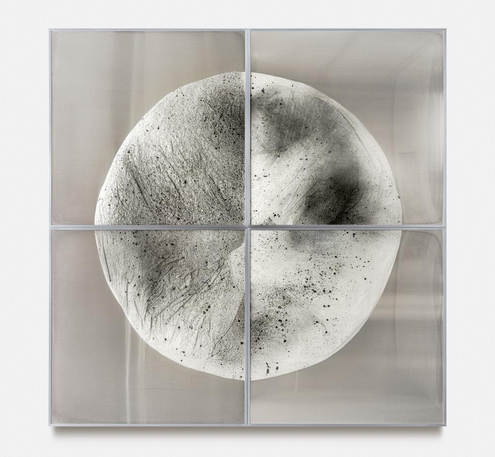 Verklärte Nacht (Transfigured Night) / Part I,  2018 Ink on Xuan paper on mirror beneath linear Plexiglas, aluminium frame (4 panels) 240 x 240 cm (95 x 95 in)