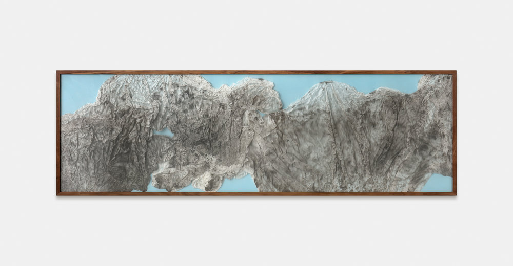 Remembrance of Realms Past / Part IV (2018) Calligraphy ink on Xuan paper, Poly Film beneath Linear Plexiglas. 206 x 63 cm (81 x 25 in.)