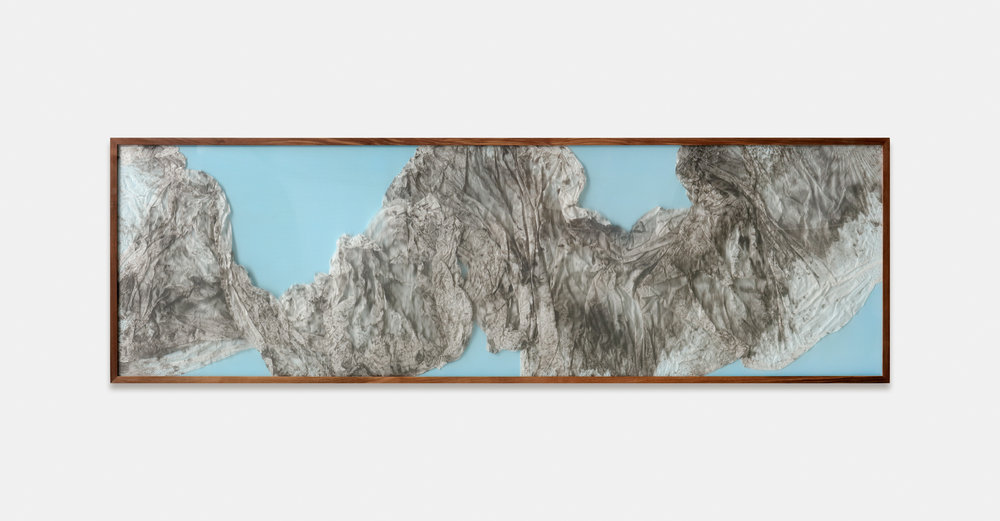 Remembrance of Realms Past / Part V (2018) Calligraphy ink on Xuan paper, Poly Film beneath Linear Plexiglas. 206 x 63 cm (81 x 25 in.)