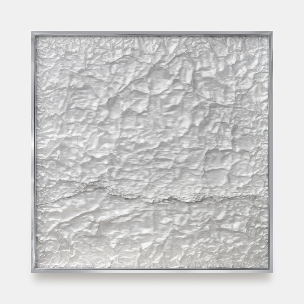Tabula Rasa / Part XII  ,  2018 Industrial aluminium beneath structured Plexiglas, aluminium frame 120 x 120 cm (47 x 47 in)