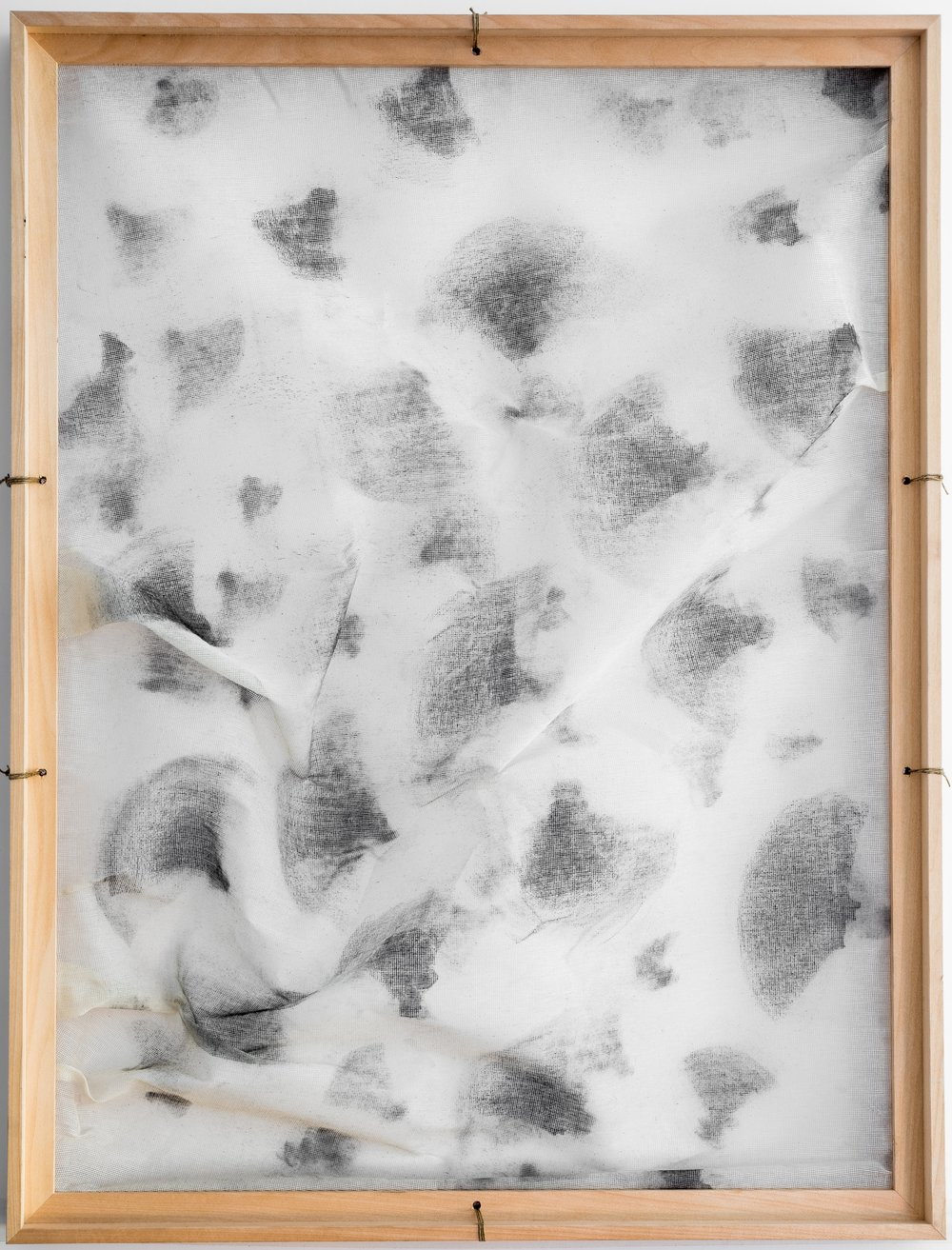 Moment Between Thoughts / Part V   (2016) Chalk on gauze, wooden frame structure. 84 x 64 cm (33 x 25 in.)