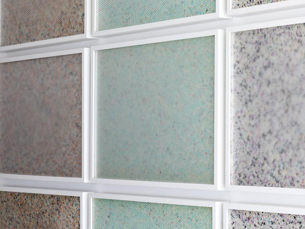 Molecular,  2015 - Side view 9 panel grid, painted insulation foam beneath structured Plexiglas 190 x 130 cm (75 x 51 in)