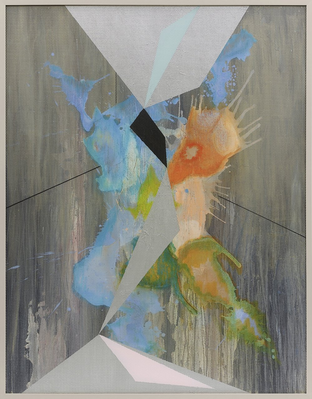 Eidolon / Part IV,  2012 Oil and acrylic on canvas beneath textured Plexiglas 180 x 140 cm (71 x 55 in)
