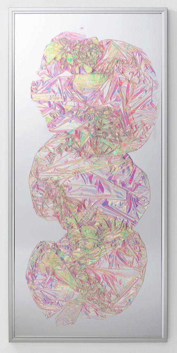 Tabula Rasa / Part III   ,   2016 Dichroic film on mirror beneath Plexiglas, aluminium frame 152 x 72 cm (60 x 28 in)