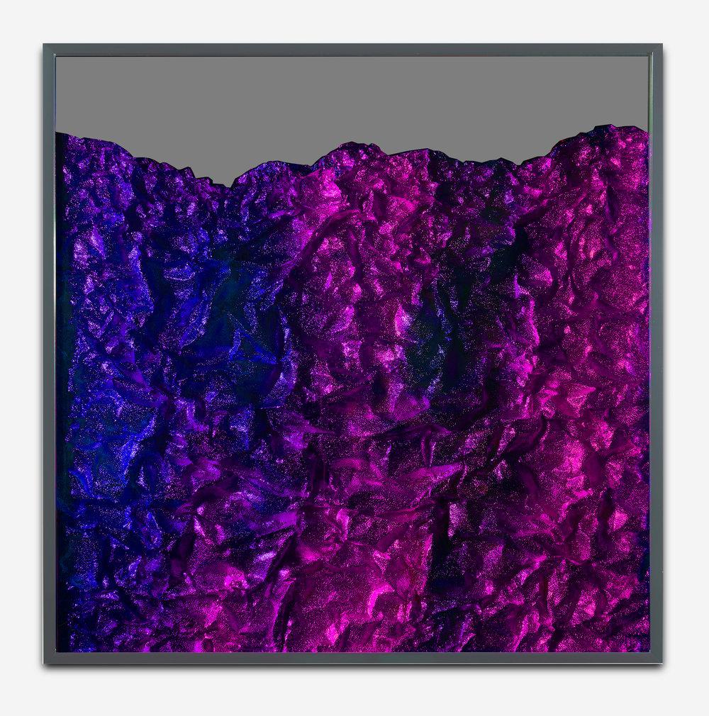 Strata Obscura / Part VIII,  2018 Industrial aluminium on mirror beneath iridescent Plexiglas, aluminium frame 90 x 90 cm (35 x 35 in)