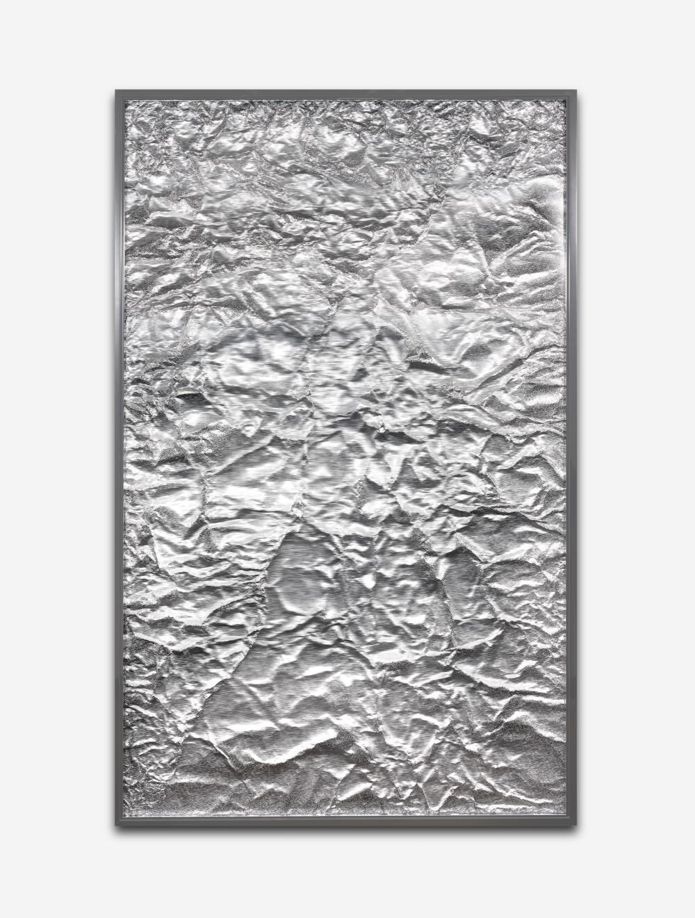 Tabula Rasa / Part XIII,  2018 Industrial aluminium beneath structured Plexiglas, aluminium frame 160 x 100 cm (63 x 39 in)