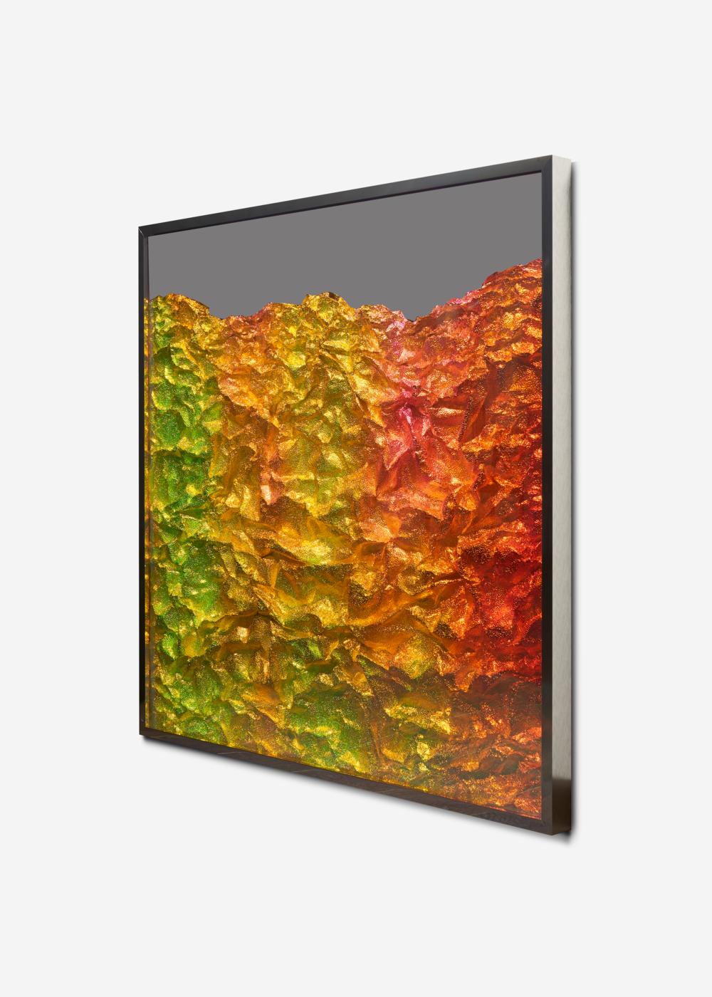 Strata Obscura / Part VIII,  2018 - Side view Industrial aluminium on mirror beneath iridescent Plexiglas, aluminium frame
