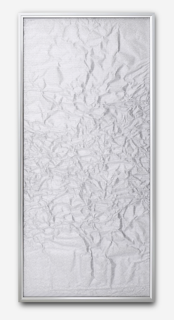 Tabula Rasa / Part II,  2016 Industrial aluminium beneath structured Plexiglas, aluminium frame 152 x 72 cm (60 x 28 in)