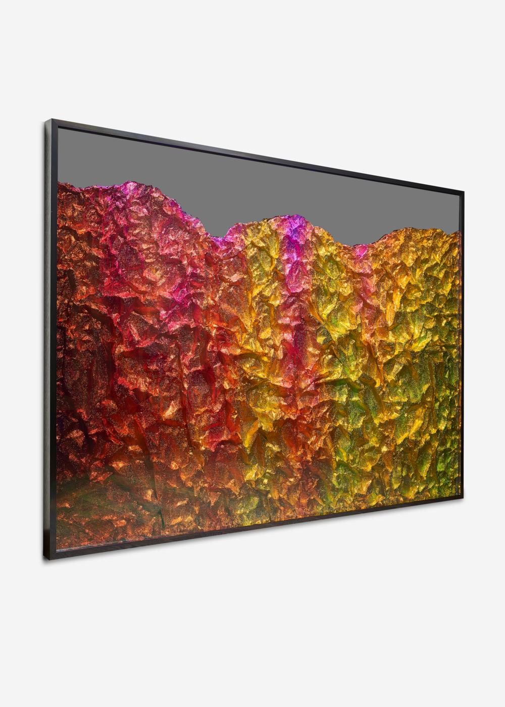 Strata Obscura / Panorma Part III,  2018 - Side view Industrial aluminium on mirror beneath iridescent Plexiglas, aluminium frame
