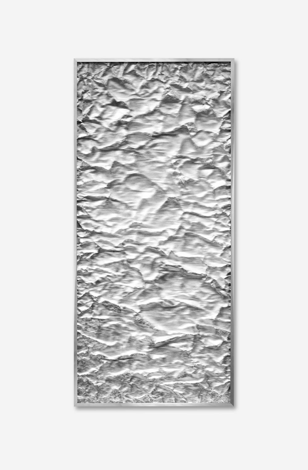 Tabula Rasa / Part XIV,  2018 Industrial aluminium beneath structured Plexiglas, aluminium frame 152 x 72 cm (60 x 28 in)