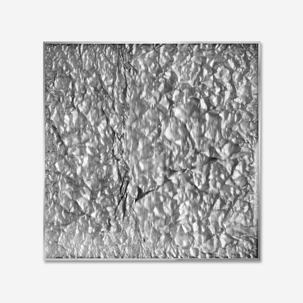 Tabula Rasa / Part XV,  2018 Industrial aluminium beneath structured Plexiglas, aluminium frame 120 x 120 cm (47 x 47 in)
