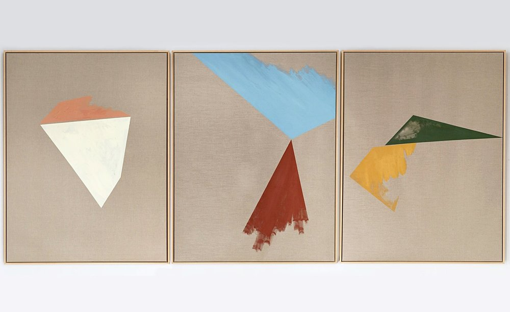 Proekt Unovisa / Part I, II, III (Triptych),  2012 Oil, acrylic and on linen canvas 420 x 180 cm (165 x 55 in)