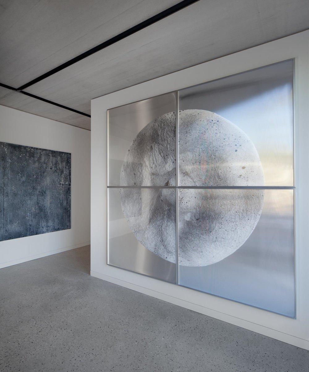 Verklärte Nacht / Part V (Quadriptych),  2018 - Installation view Ink on Xuan paper on mirror beneath linear Plexiglas, aluminium frame 240 x 240 cm (95 x 95 in)