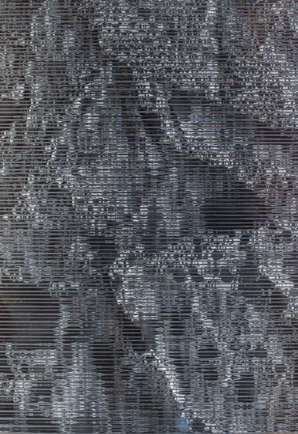 Verklärte Nacht / Part VI (Quadriptych),  2018 - Detail Ink on Xuan paper on mirror beneath linear Plexiglas, aluminium frame