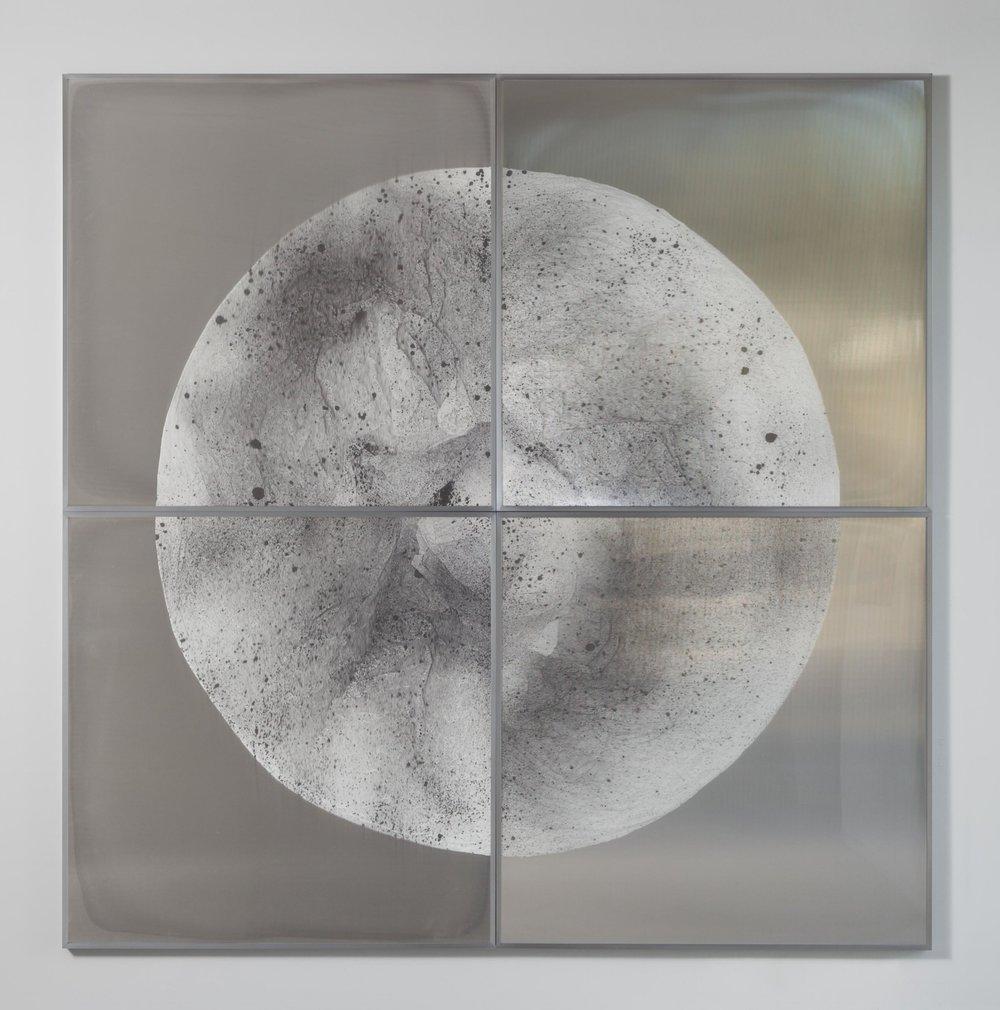 Verklärte Nacht / Part V (Quadriptych),  2018 Ink on Xuan paper on mirror beneath linear Plexiglas, aluminium frame 240 x 240 cm (95 x 95 in)