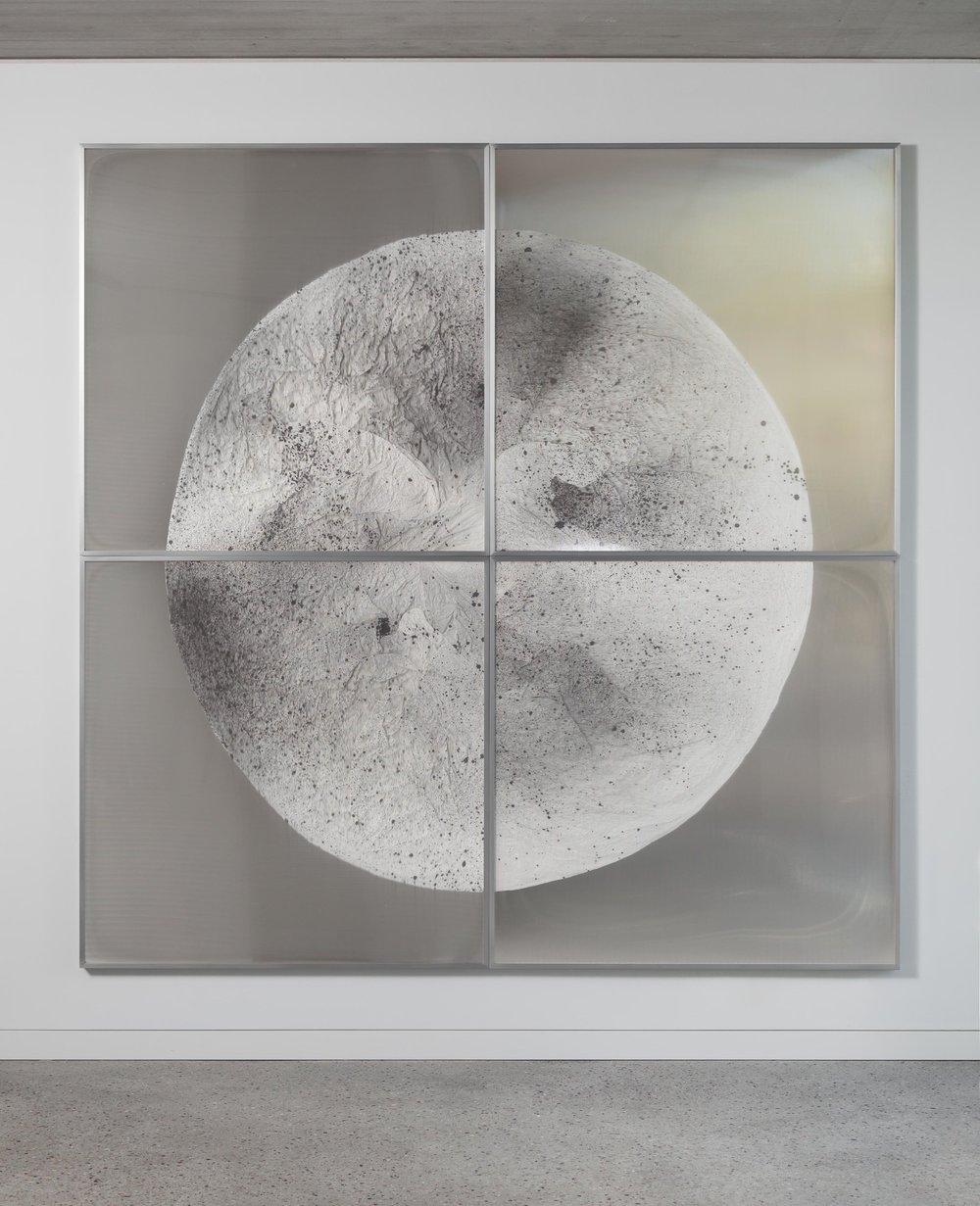 Verklärte Nacht (Transfigured Night) / Part VI (Quadriptych),  2018 - Installation view Ink on Xuan paper on mirror beneath linear Plexiglas, aluminium frame 240 x 240 cm (95 x 95 in)
