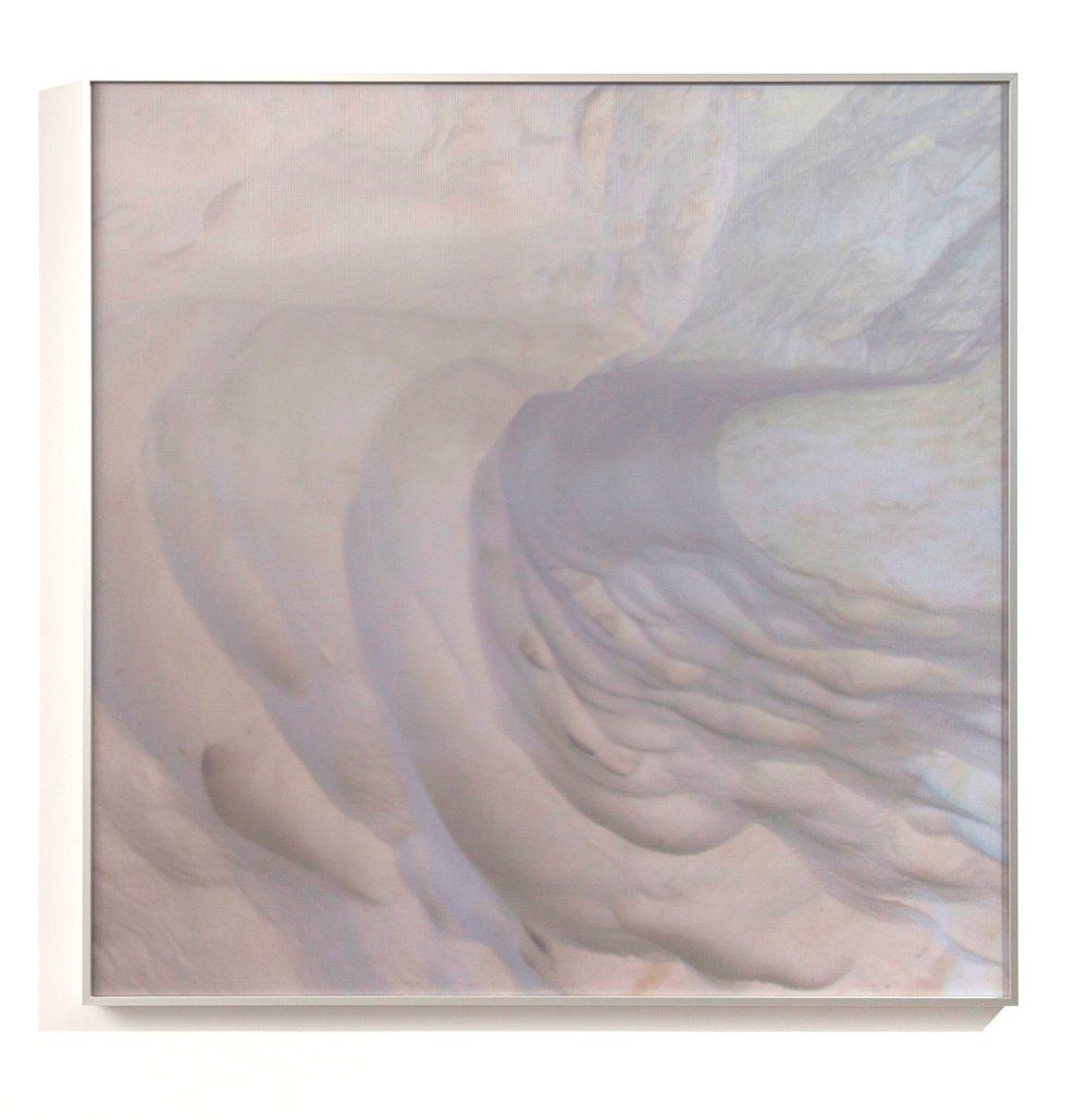 Atlas Obscura (The Dictaean Cave) / Part III,  2019 Wax pastels, UV-print on aluminium beneath linear Plexiglas 90 x 90 cm (35 x 35 in)