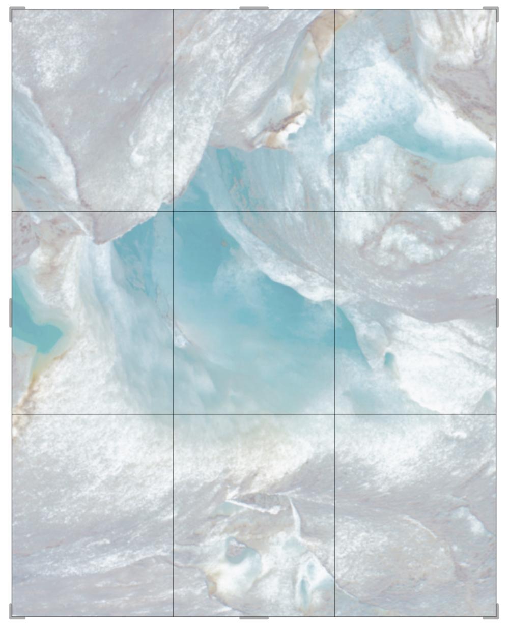 Piqaluyak / Part III,  2019 Aquarelle, wax pastels, UV-print on paper beneath structured Plexiglas 230 x 200 cm (91 x 79 in)