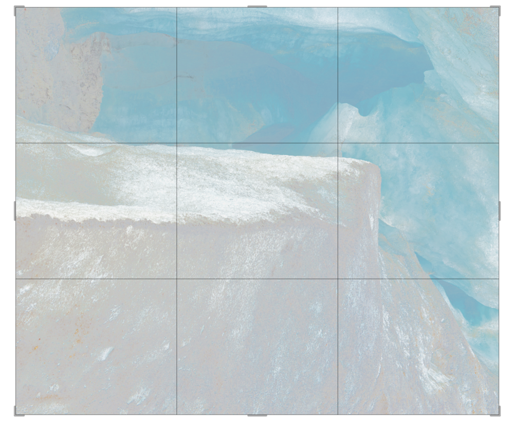 Piqaluyak / Part V,  2019 Aquarelle, wax pastels, UV-print on paper beneath structured Plexiglas 270 x 240 cm (106 x 95 in)